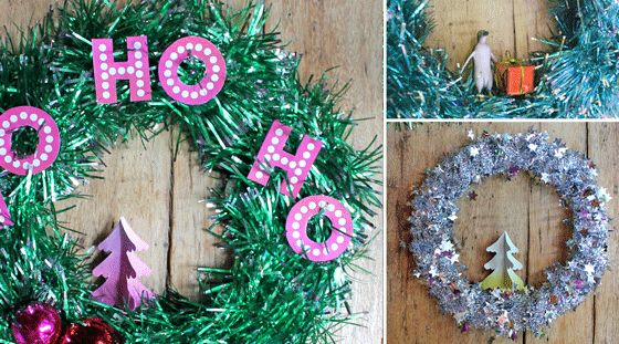 Make your own Christmas tinsel wreath decoration - Easy video tutorial and templates available here - https://happythought.co.uk/craft-ideas/tinsel-wreath