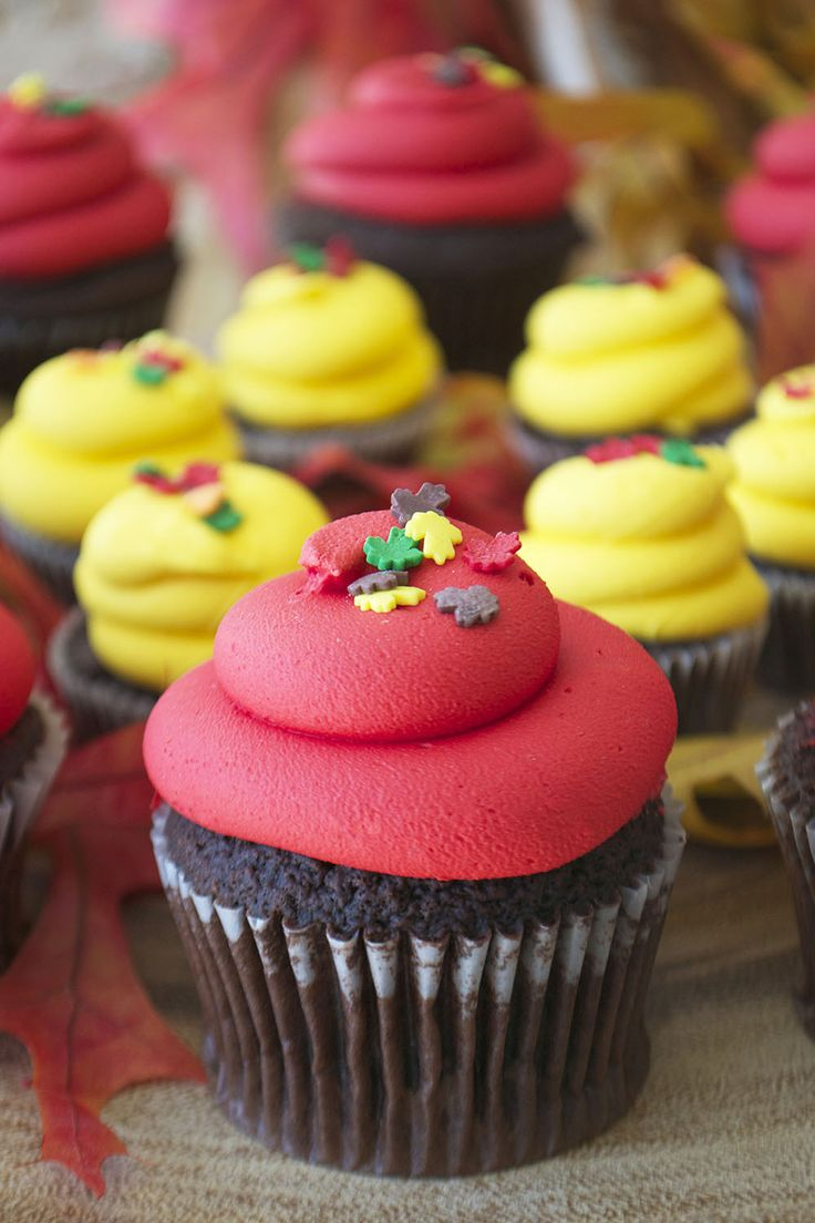 Thanksgiving cupcake with red icing and leaf sprinkles by Bake Sale Toronto.