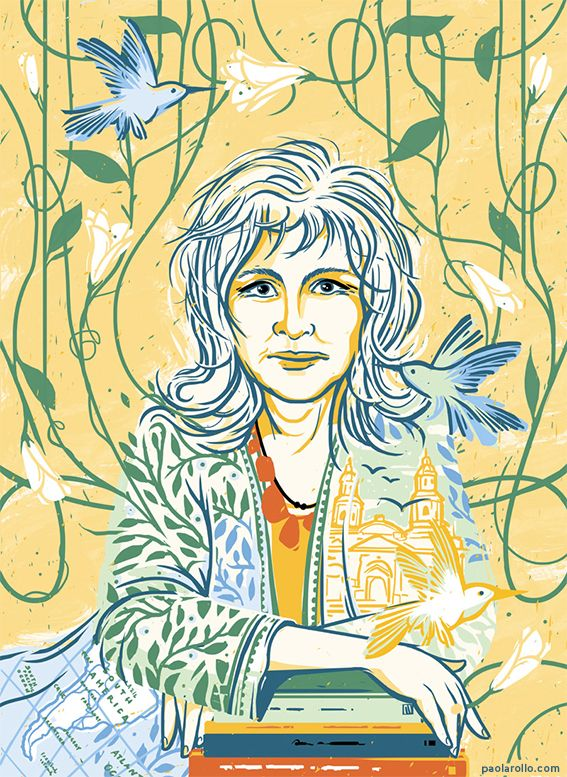 """Isabel Allende by Paola Rollo. A portrait for """"Goodnight stories for rebel girls"""", a project by Timbuktu Labs."""