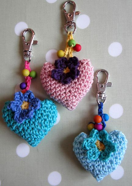 Crochet Hearts and flowers on clip