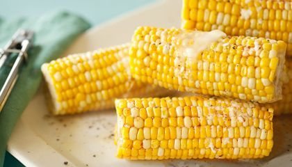 Sweet Corn on the Cob—Cooked in Milk    Ingredients    8 ears of sweet corn, husks and silk removed  Water, to cover corn  1 1/2 cup(s) whole milk or half and half  2 Tbsp. sugar or honey  1 tsp. salt  Put 3 to 4 cups of water, milk, sugar and salt in large pot. Put pot over high heat and bring to a boil.  Add sweet corn to rolling boil and cook 3 to 4 minutes. Use tongs to remove corn from the pot and immediately brush with butter. Serve.