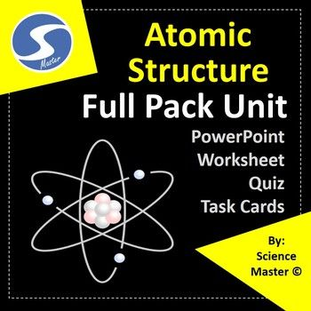 Atomic Structure Bundle Unit is consist of a PowerPoint presentation with 59 slides, 20 task cards, a comprehensive review worksheet and a multiple choice test paper. COVERAGE OF THE RESOURCE (SYLLABUS); Introduction to atomic structure Subatomic particles Atomic mass number