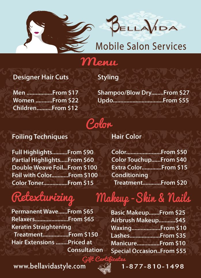 Menu - Bella Vida Style Mobile Salon