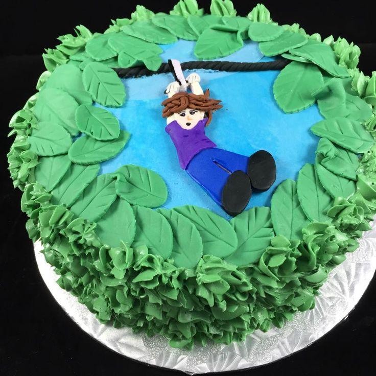 11 best zipline birthday images on pinterest birthdays ziplining cake finished with green buttercream and fondant decorations stopboris Gallery