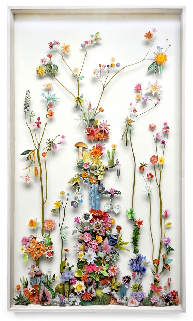 Paper cut and pressed flower constructions by Anne ten Donkelaar