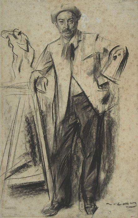 Portrait Of Antonin Mercie Ramon Casas