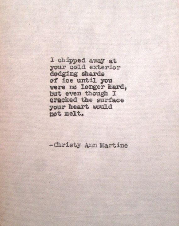 frozen heart poem typed on cotton paper old by christy ann