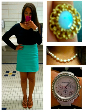 Outfit of the Day  Sweater: J.Crew  Skirt: J.Crew  Shoes: Cole Haan  Pearls and Ring: Great-Grandmother's  Watch: Michael Kors