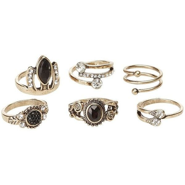 Charlotte Russe Embellished Cocktail Rings - 6 Pack ($6) ❤ liked on Polyvore featuring jewelry, rings, gold, cabochon jewelry, geometric jewelry, triple ring, charlotte russe and gold jewellery