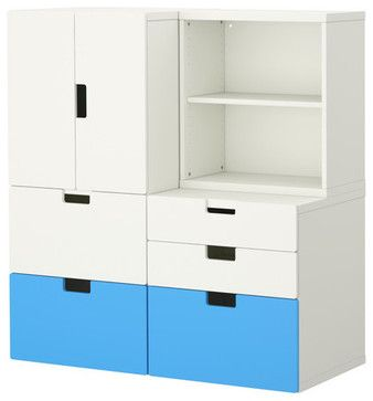 Stuva Storage Combination With Doors/Drawers, Blue/White modern toy storage