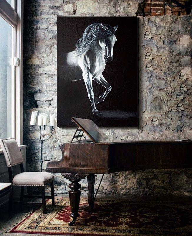 cuadros de caballos pintados al oleo, este cuadro es un cuadro original delier, en el estudio creamos cuadros en grandes formatos personalizados mira en tienda