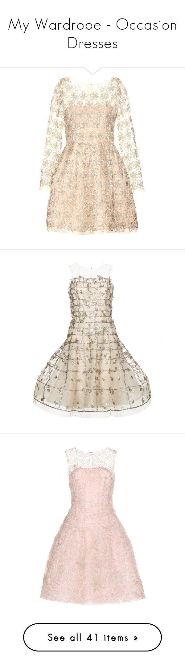 """My Wardrobe - Occasion Dresses"" by ann4-kar1na ❤ liked on Polyvore featuring dresses, oscar de la renta, beige, embellished short dress, mini dress, beige short dress, silk organza dress, oscar de la renta cocktail dress, gold and broderie dress"