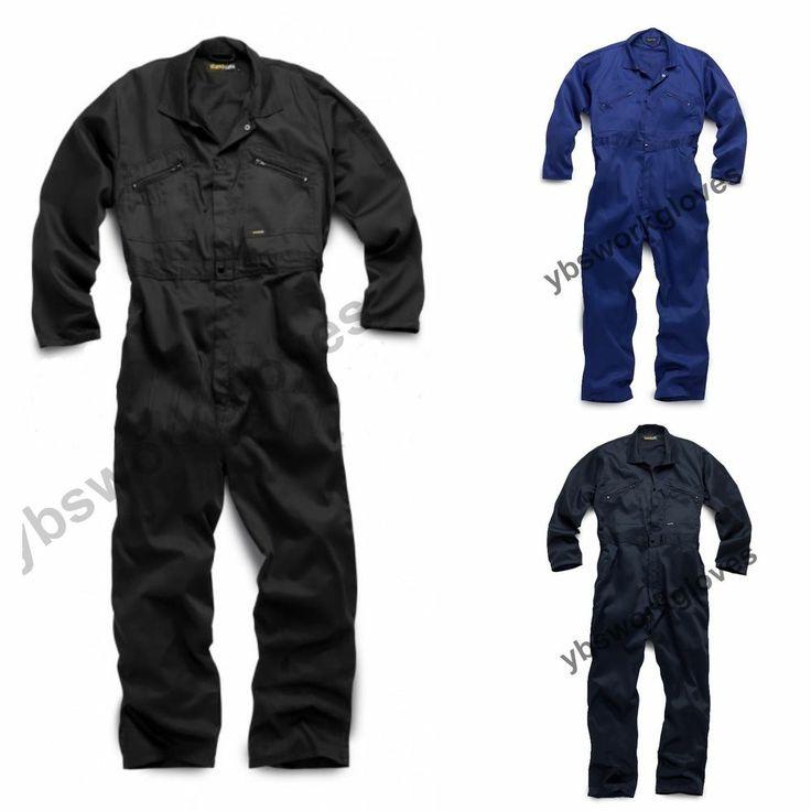 ZIP & STUD Boiler Suit Overalls Black Mens Work Coveralls  Mechanics  College
