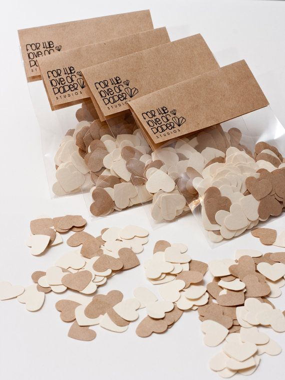200 Heart confetti on Cream & Kraft paper by LoveOfPaperStudios, $2.50