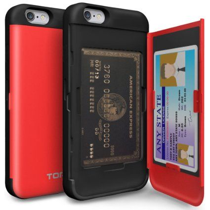 Amazon.com: iPhone 6S Case, TORU [CX PRO] iPhone 6 Wallet Case - [CARD SLOT][ID HOLDER][KICKSTAND] Protective Hidden Wallet Case with Mirror for iPhone 6/6S - Red: Cell Phones & Accessories