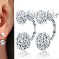 Wish | Women Jewelry New 925 Sterling Silver Double Beads Crystal Stud Earring