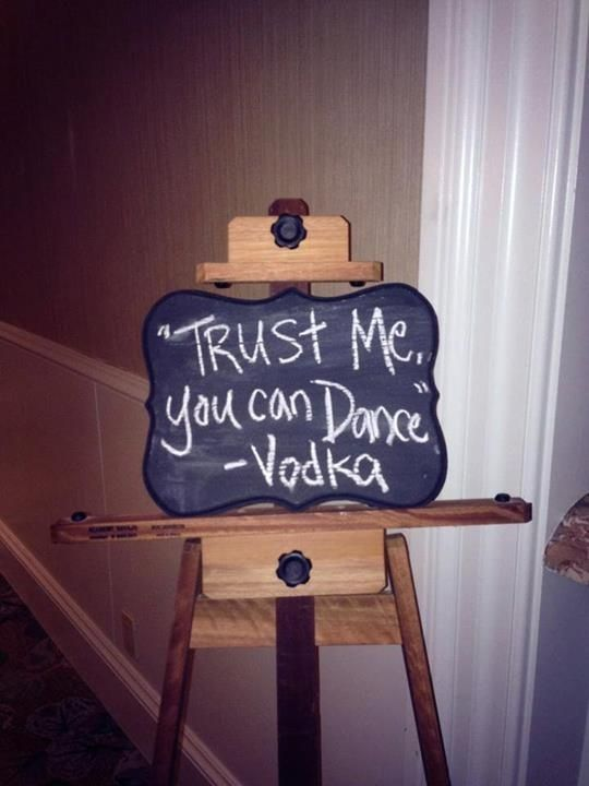 Cute sign at the reception bar!