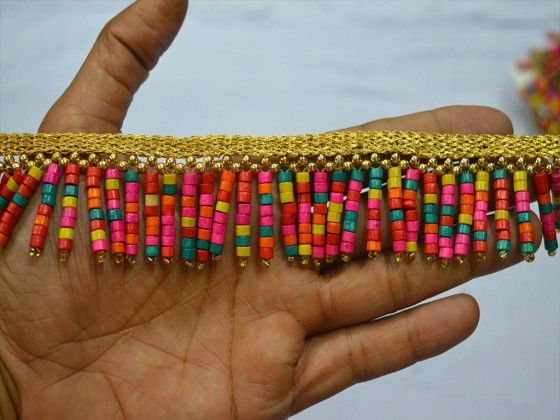 Wood Beaded Fringes Indian Home Decor Curtain Crafting Trim