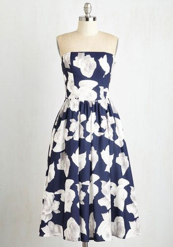Reminisce From a Rose Dress by Chi Chi London - Blue, Floral, Print, Special Occasion, Fit & Flare, Sleeveless, Strapless, Woven, Better, White, Wedding, Party, Bridesmaid, Long
