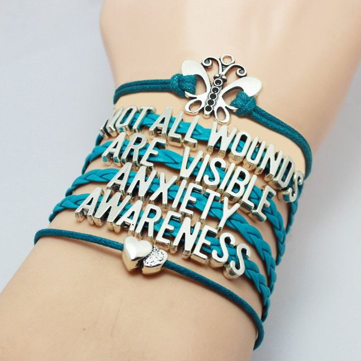 Teal Leather Anxiety Awareness Bracelet