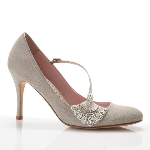 Elizabeth - Emmy - soft grey suede #grey wedding shoes #blush & grey