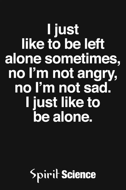 I just want to be left alone sometimes, no I'm not angry, no I'm not sad. I just wanna be alone