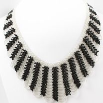 This black and white beaded necklace can be worn with any outfit for a classic look.