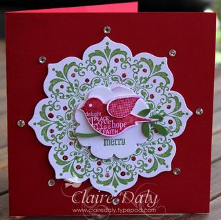 Christmas card...Stampin up floral framelits Daydream Medallions...luv this deep red card with elegant simplicity...