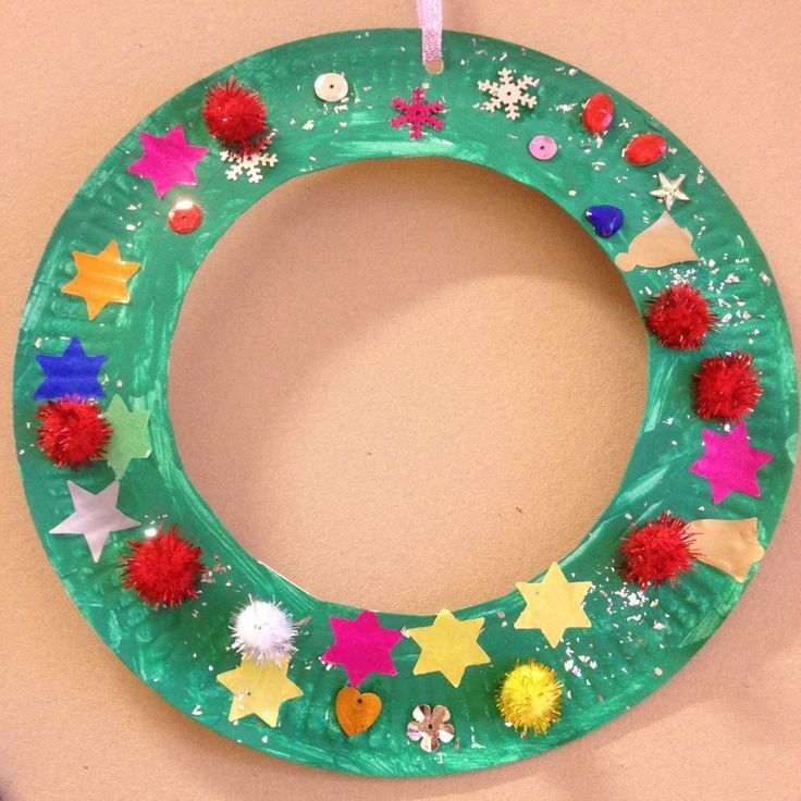 Kerstkrans knutselen van een papieren etensbordje