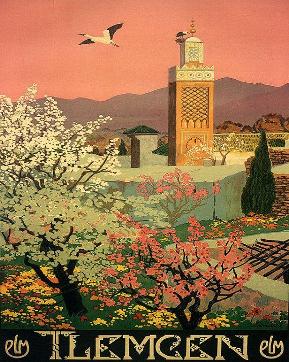 Algérie Tlemcen 16 « x 20 » fleur des pays arabes arabe Voyage Tourisme affiche Vintage Repro papier/toile livraison gratuite aux Etats-Unis