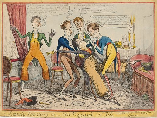 A Dandy Fainting or _ an Exquisite in Fits. Scene in a Private Box Opera.  Original etching by Isaac Cruikshank, with hand colour as published by Thomas McLean, 26 Haymarket, London, 1835.