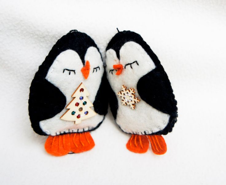 Penguin ornament felt, set of 2, handmade, Christmas ornament, Birthday gift, nursery decor, home decoration by PrettyFeltThings on Etsy