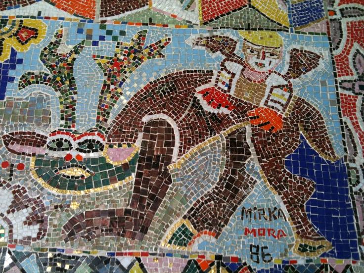 Mirka Mora mosaic closeup at Flinders Street Station