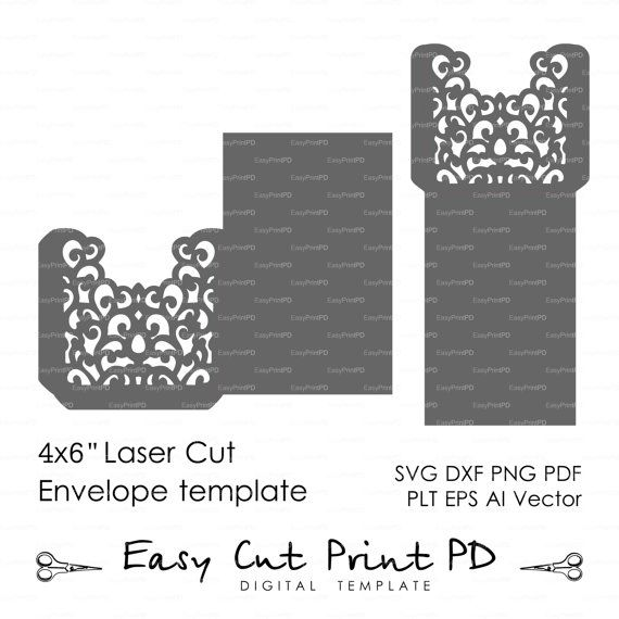 """Swirl filigree Wedding Envelope 4x6"""" pattern Template (svg, dxf, ai, eps, png, pdf) laser paper cut Silhouette Cameo Cricut Instant Download"""