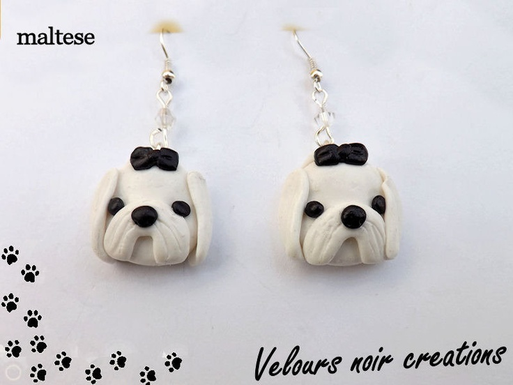 orecchini cane maltese in fimo handmade, by Velours Noir Crèations, 8,00  su misshobby.com