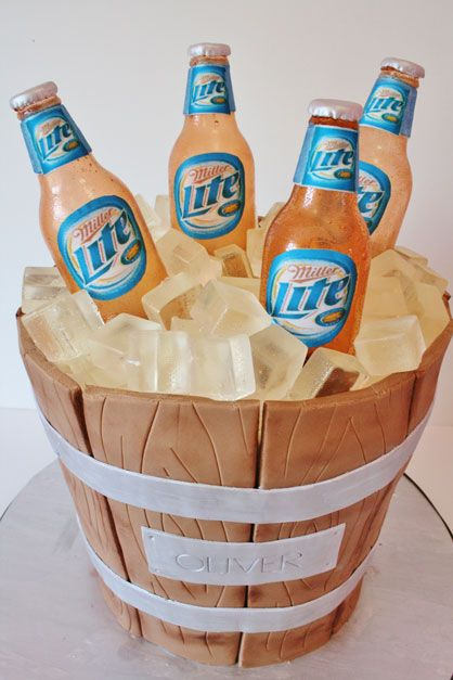 Beer Bucket Cake - omg molly, pin this to your wedding board, this would be an awesome Groom's Cake! (except with bud light)
