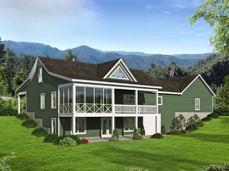 146 best mountain house plans images on pinterest for Mountain house plans rear view