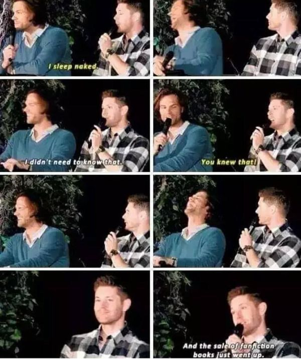 Jared sleeps naked  Jensen pretended he didn't know  Fan fiction numbers rise