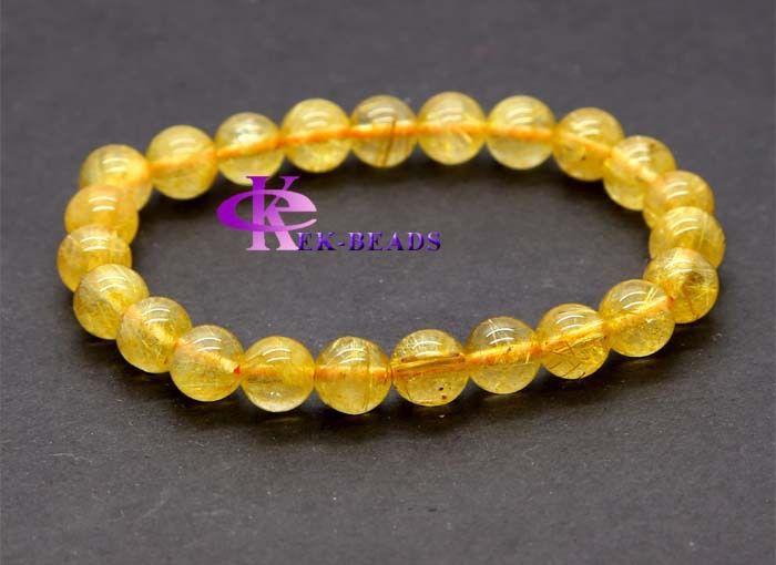 Оптовая продажа естественно подлинной желтый титана золото игла рутил кварц отделка бисером браслета простирания круглый ювелирные изделия бусины 8 мм 03147