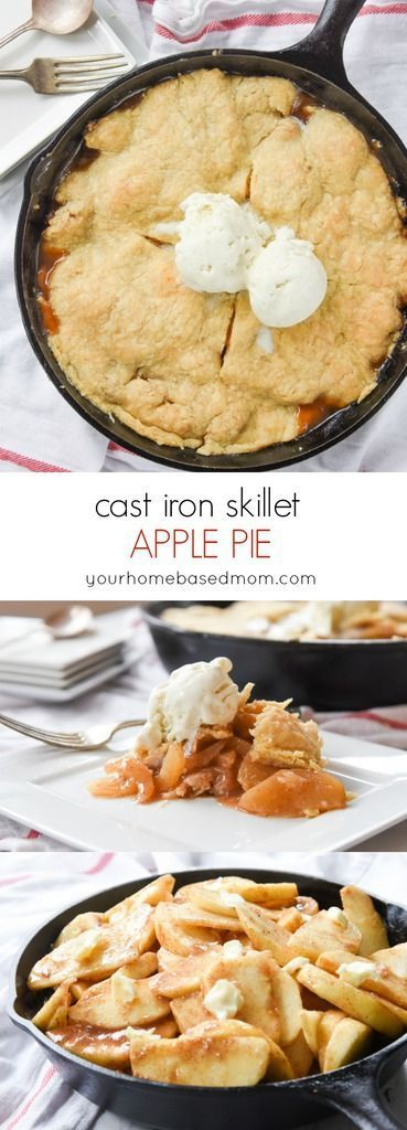 Cast Iron Skillet Apple Pie Fall Dessert Recipe - Pie season is here and this Cast Iron Skillet Apple Pie is a fun variation on a classic. Cinnamon sugar coated apples sandwiched between two layers of flaky pastry crust.