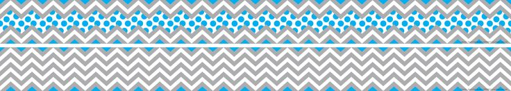 Barker Creek's double-sided Chevron border/trimmer. Gray and Blue shown.