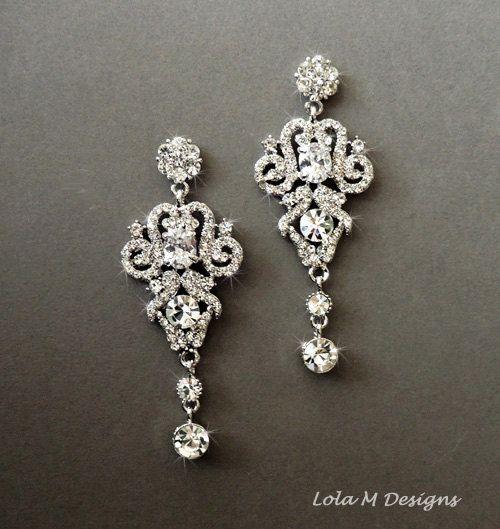 1920s Art Deco Great Gatsby Inspired Bridal Crystal Drop Earrings