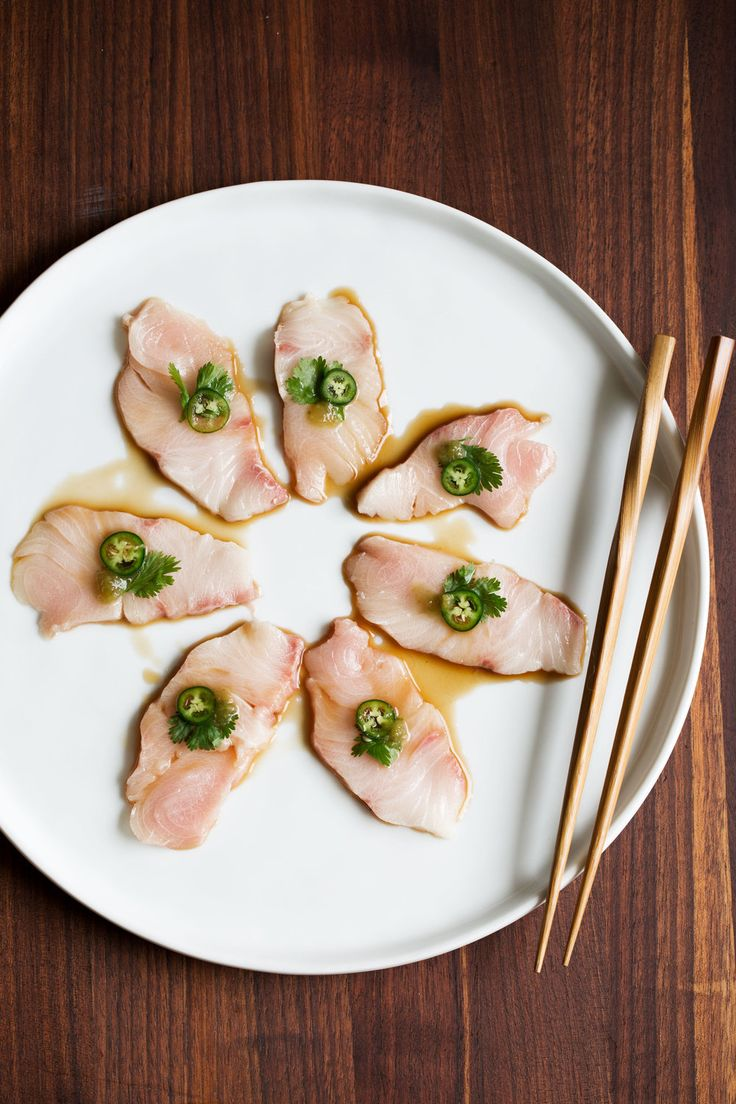 yellowtail sashimi with serrano and ponzu recipe from Cooking with Cocktail Rings