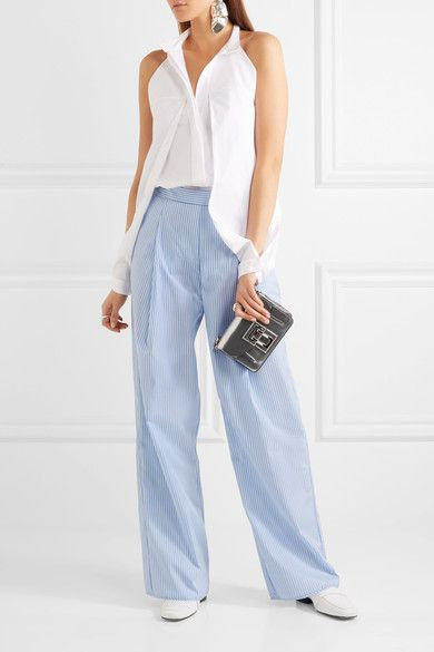 Georgia Alice - Perret Striped Cotton-poplin Wide-leg Pants - Blue