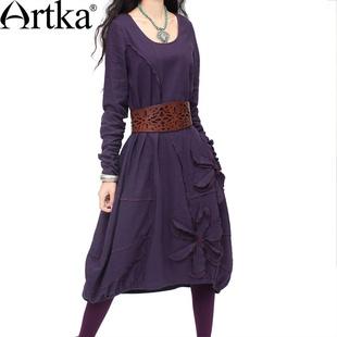 #Swanmarks Artka Purple Series Handmade Joint Flower Long Sleeved Dress