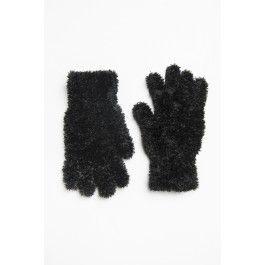 Black furry & plush gloves