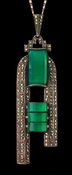 THEODOR FAHRNER ---- Art Deco Pendant ----  Silver Marcasite Chalcedony ----  German, c.1930
