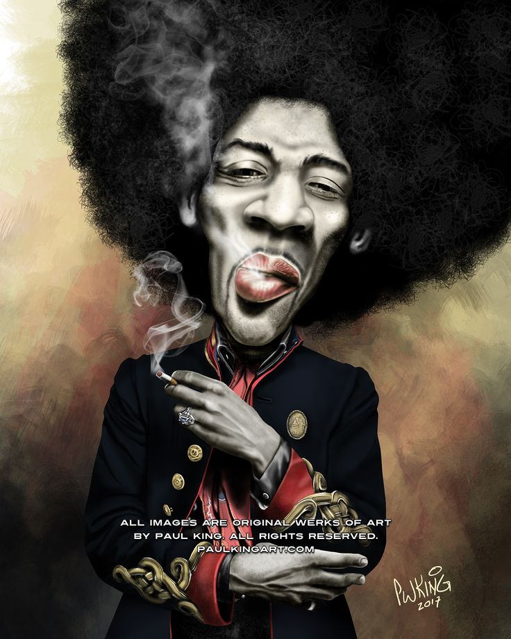 Jimi Hendrix Caricature circa early 1967 at age 25, wearing the Royal Army Veterinary Corps dress jacket which was soon to become part of his trademark. Born in Seattle, Washington in 1942. In mid-1958, at age 15, Hendrix acquired his first acoustic guitar, for $5. He earnestly applied himself, playing the instrument for several hours daily, listening to blues artists such as Muddy Waters, B.B. King, Howlin' Wolf, and Robert Johnson.