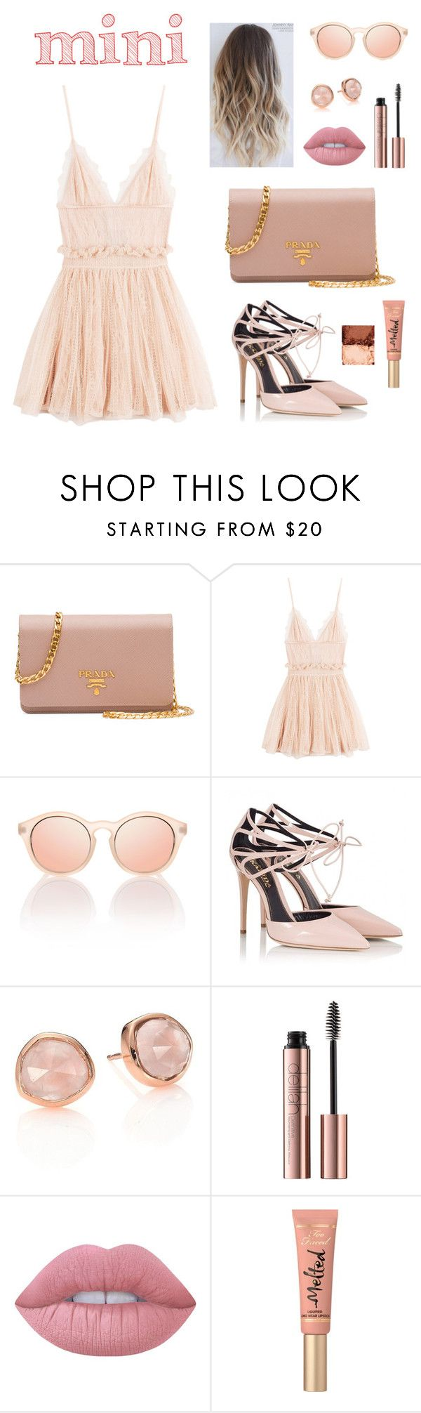 """""""Sweet mini handbag 💕"""" by anna-styles14 ❤ liked on Polyvore featuring Prada, Alexander McQueen, Le Specs, Fratelli Karida, Monica Vinader, Lime Crime, Too Faced Cosmetics and NYX"""