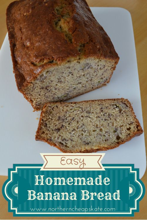 Looking for a filling breakfast or a tasty snack?  Try this easy homemade banana bread recipe your whole family will enjoy.